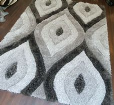 Rugs Approx 7x5Ft 160CMX210CM Carved 3D Design Quality Grey/Dark Grey Rugs Woven
